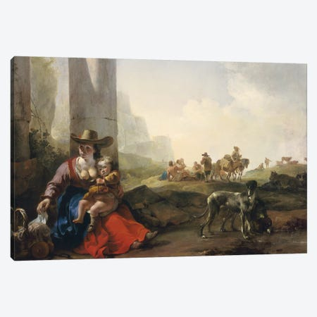 Italian Peasants among Ruins, c.1649/50  Canvas Print #BMN3558} by Jan Weenix Canvas Art Print