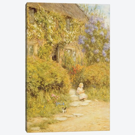 A cottage near Crewkerne  Canvas Print #BMN3566} by Helen Allingham Canvas Art Print