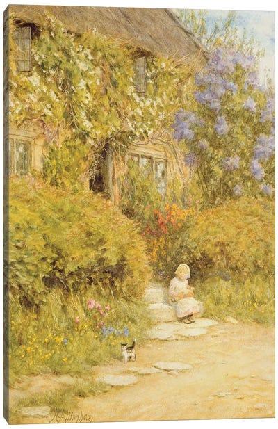 A cottage near Crewkerne  Canvas Art Print