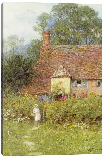 By the Cottage Gate  Canvas Art Print
