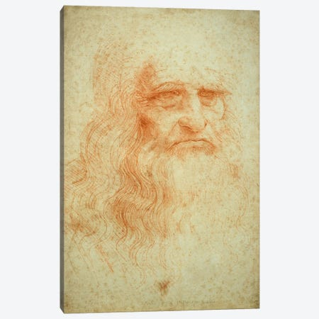 Self Portrait, c.1515-16 (Musei Reali Torino) Canvas Print #BMN3581} by Leonardo da Vinci Canvas Artwork