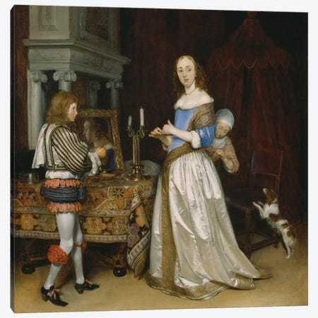 Lady at her Toilette, c.1660  Canvas Print #BMN3582} by Gerard ter Borch Canvas Wall Art