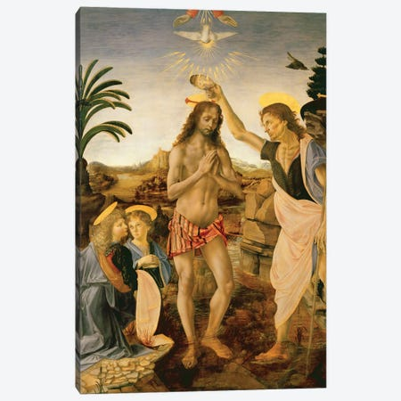 The Baptism of Christ by John the Baptist, c.1475  Canvas Print #BMN3583} by Andrea del Verrocchio Canvas Art