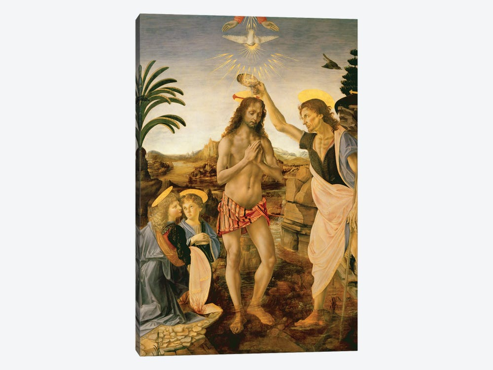 The Baptism of Christ by John the Baptist, c.1475  by Andrea del Verrocchio 1-piece Canvas Art