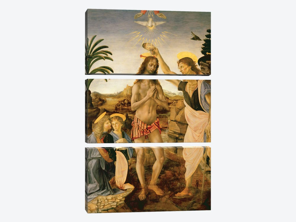 The Baptism of Christ by John the Baptist, c.1475  by Andrea del Verrocchio 3-piece Canvas Artwork