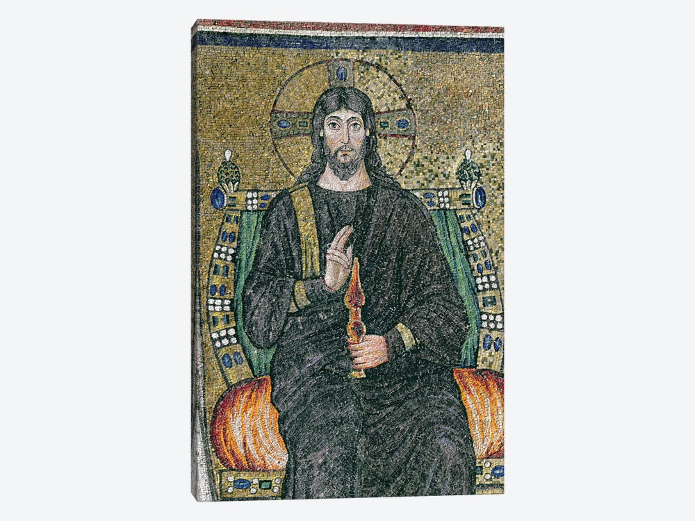 Christ enthroned with the angels  by Byzantine School 1-piece Canvas Art Print