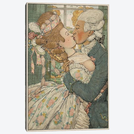 Le Baiser, 1918  Canvas Print #BMN3589} by Konstantin Andreevic Somov Canvas Art