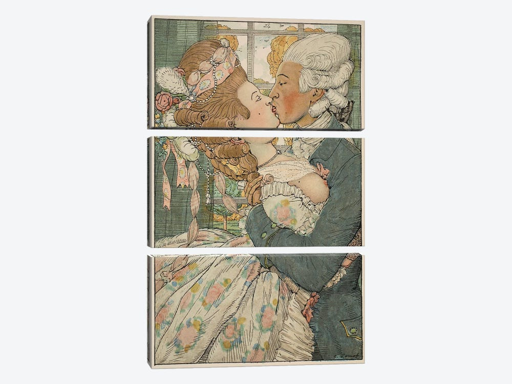 Le Baiser, 1918  by Konstantin Andreevic Somov 3-piece Canvas Wall Art