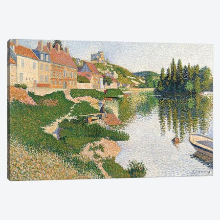 The River Bank, Petit-Andely, 1886  Canvas Print #BMN358} by Paul Signac Canvas Wall Art