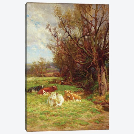 Cattle grazing  Canvas Print #BMN3599} by Charles James Adams Art Print