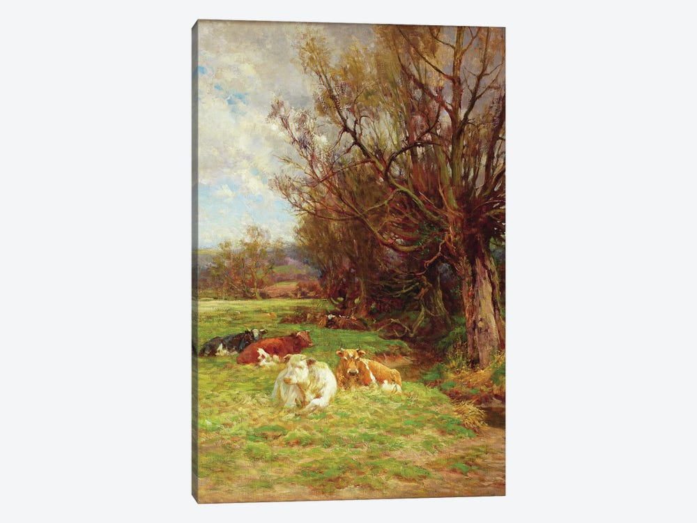 Cattle grazing  by Charles James Adams 1-piece Canvas Art Print