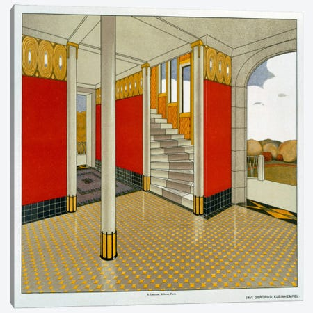 Stylised Entrance Hall and Stairs, German, Leinhemple, Gertrude. Early 1900s Canvas Print #BMN35} by Unknown Artist Canvas Wall Art