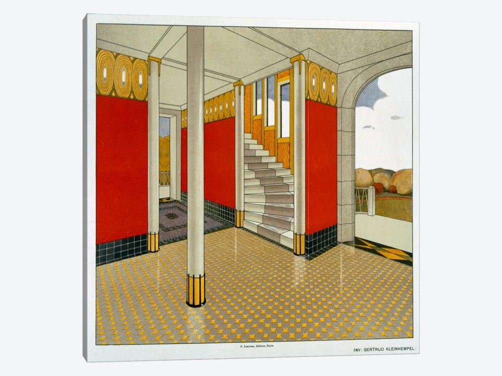 Stylised Entrance Hall and Stairs, German, Leinhemple, Gertrude. Early 1900s by Unknown Artist 1-piece Canvas Artwork