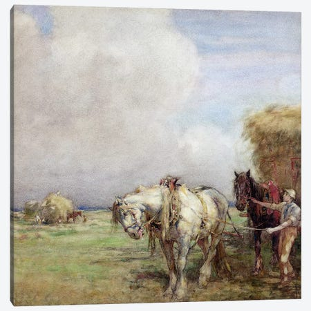 The Hay Wagon  Canvas Print #BMN3603} by Nathaniel Hughes John Baird Art Print
