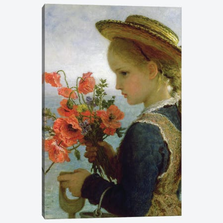 Poppy Girl  Canvas Print #BMN3605} by Karl Wilhelm Friedrich Bauerle Canvas Artwork