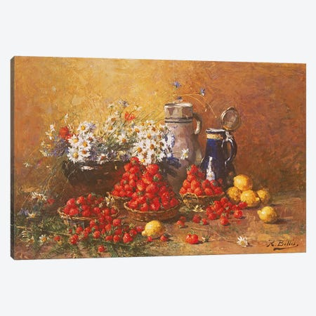 Still life of flowers and fruit  Canvas Print #BMN3607} by Hubert Bellis Canvas Artwork