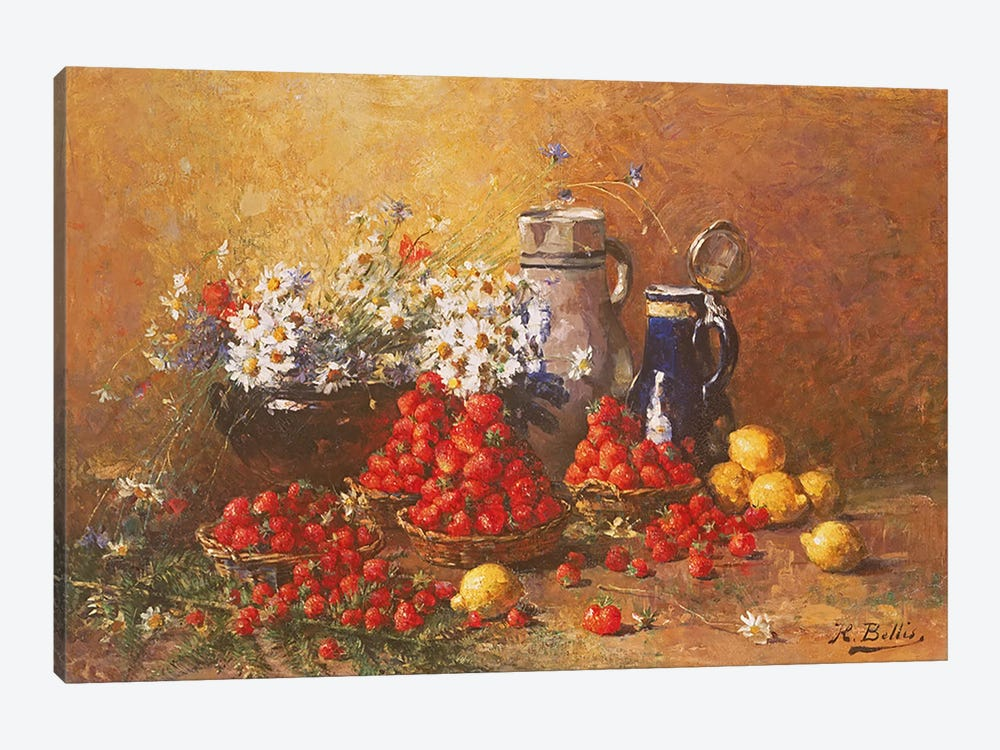 Still life of flowers and fruit by Hubert Bellis 1-piece Canvas Art