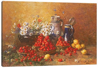 Still life of flowers and fruit  Canvas Art Print