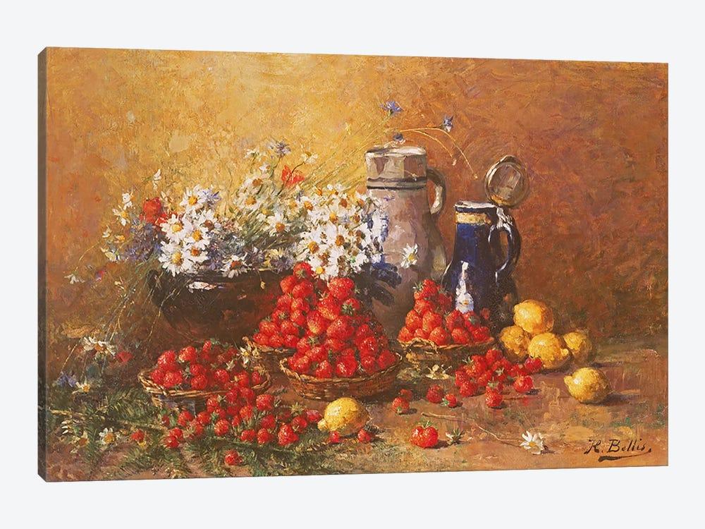 Still life of flowers and fruit  by Hubert Bellis 1-piece Canvas Art