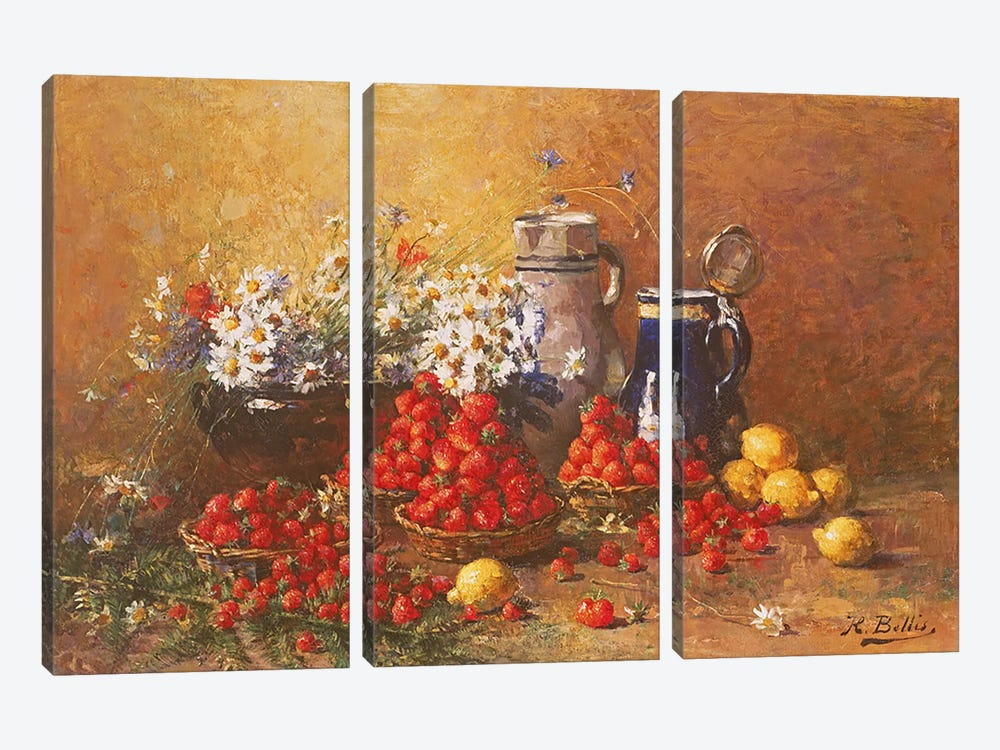Still life of flowers and fruit  by Hubert Bellis 3-piece Canvas Artwork