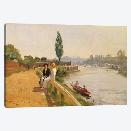 The Thames at Hampton Court  Canvas Print #BMN3609} by John Arthur Black Canvas Print