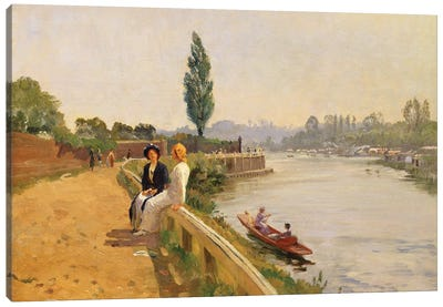 The Thames at Hampton Court  Canvas Art Print