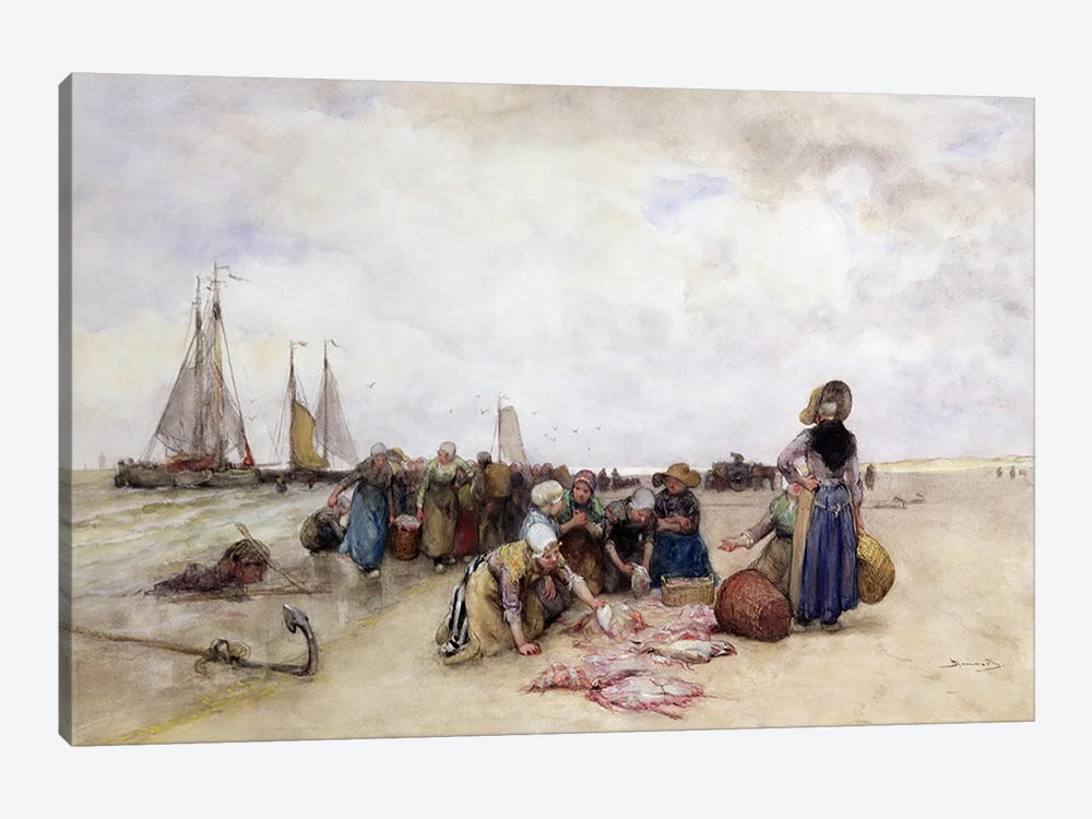 Fish Sale on the Beach by Bernardus Johannes Blommers 1-piece Canvas Art Print