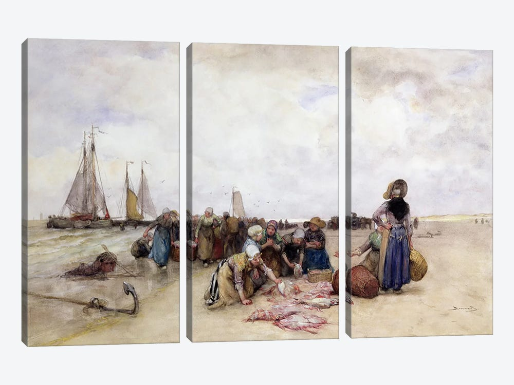 Fish Sale on the Beach  3-piece Canvas Art Print