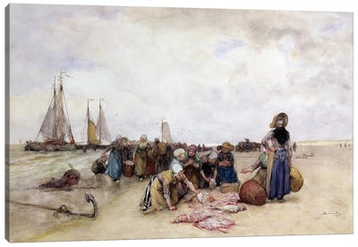 Fish Sale on the Beach  Canvas Art Print