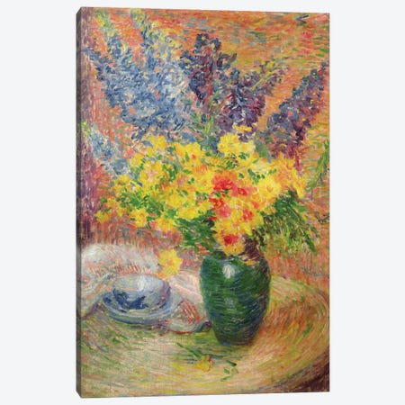 Delphiniums and Chrysanthemums  Canvas Print #BMN3618} by Anna Boch Canvas Wall Art