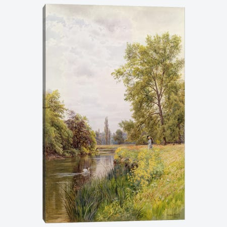 The Thames at Purley, 1884  Canvas Print #BMN3620} by William Bradley Canvas Art Print