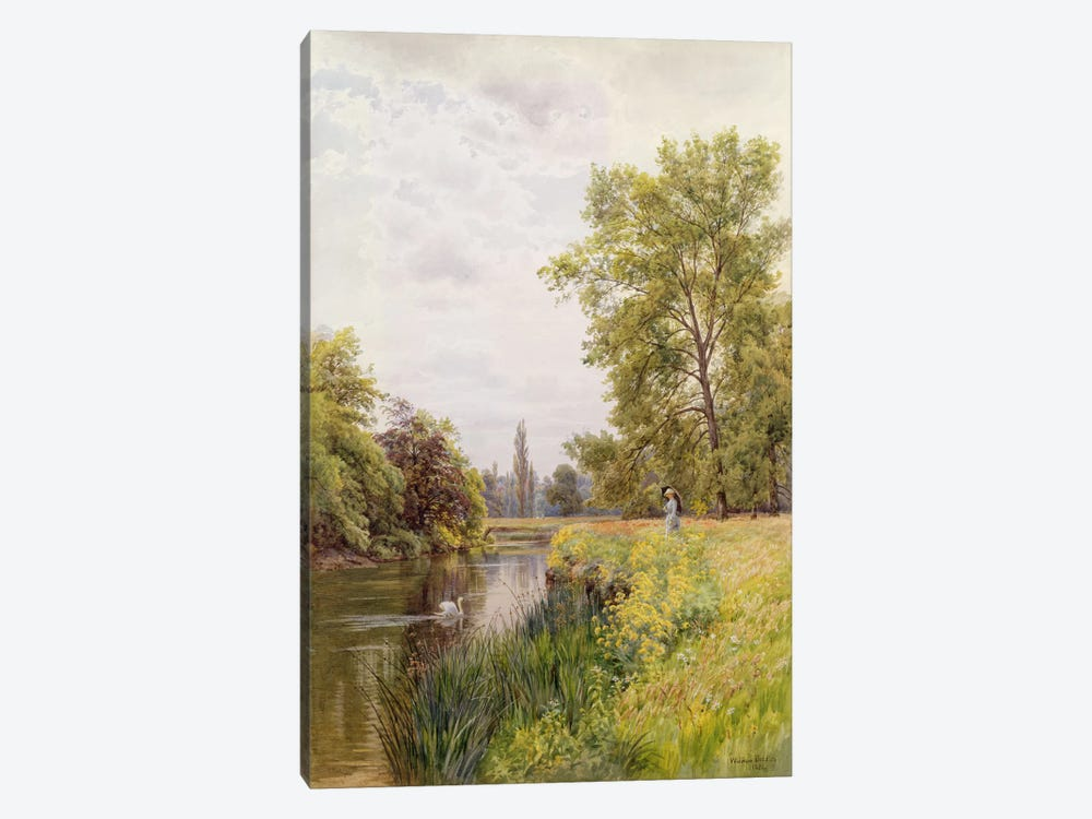 The Thames at Purley, 1884 by William Bradley 1-piece Canvas Art Print