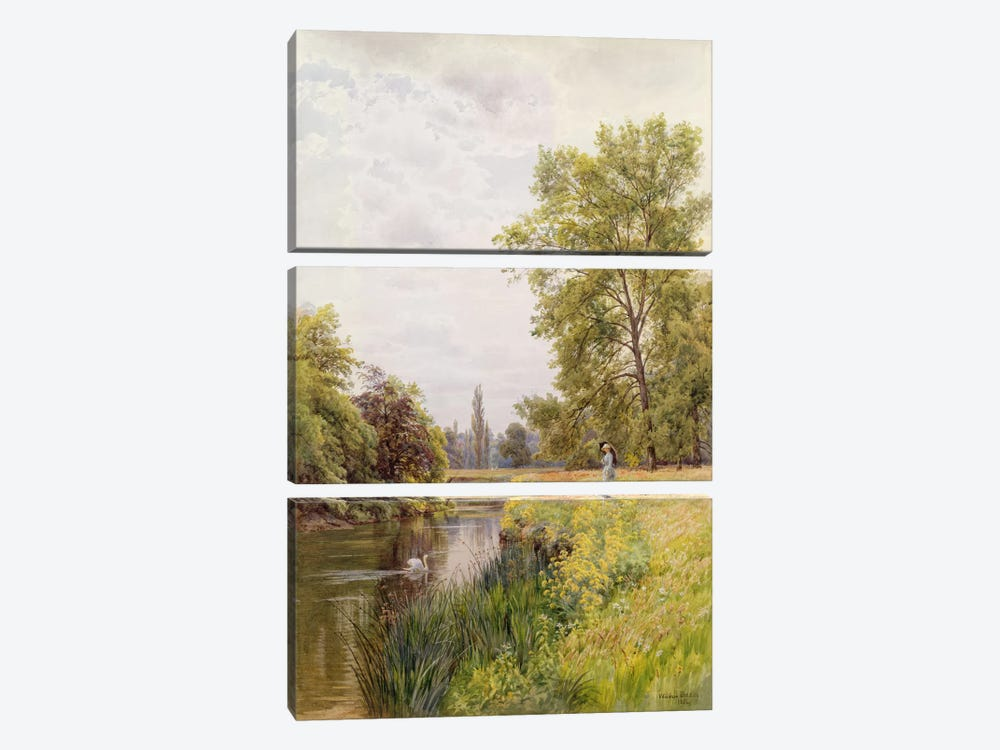 The Thames at Purley, 1884 by William Bradley 3-piece Canvas Art Print