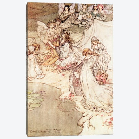 Illustration for a Fairy Tale, Fairy Queen Covering a Child with Blossom Canvas Print #BMN362} by Arthur Rackham Canvas Art Print