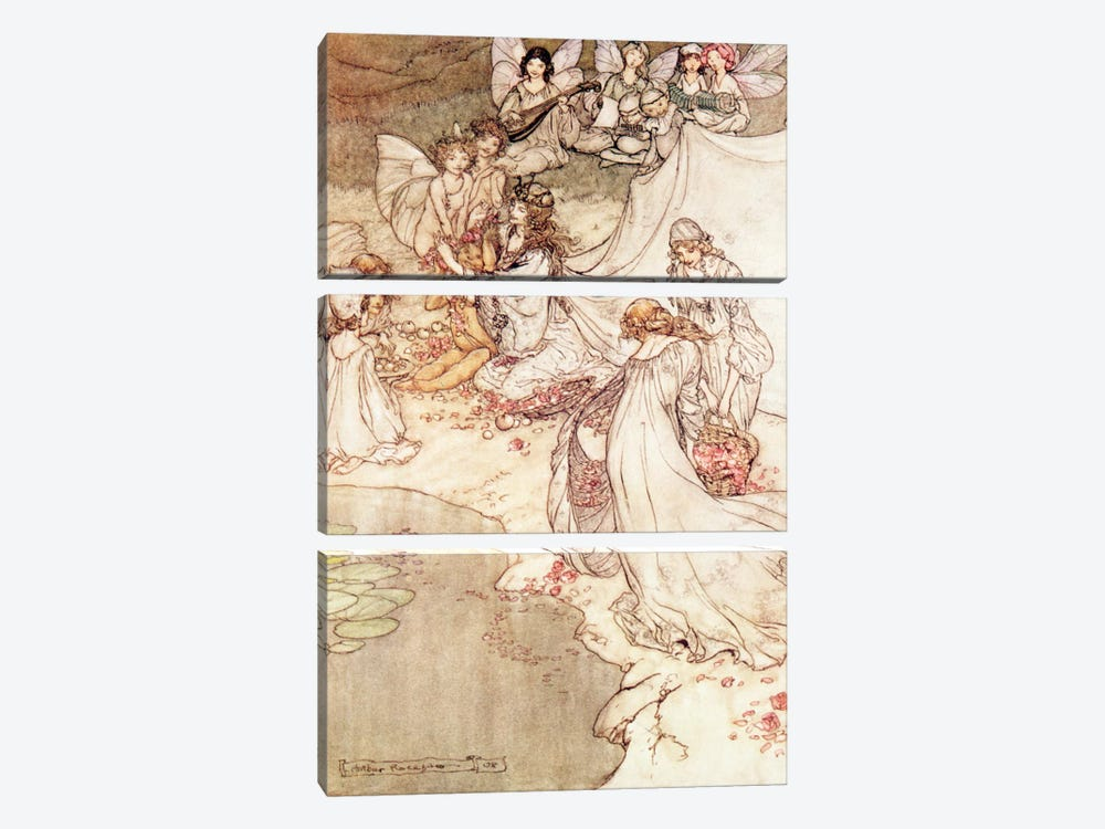 Illustration for a Fairy Tale, Fairy Queen Covering a Child with Blossom by Arthur Rackham 3-piece Art Print