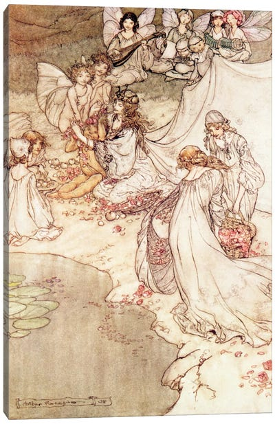Illustration for a Fairy Tale, Fairy Queen Covering a Child with Blossom Canvas Art Print