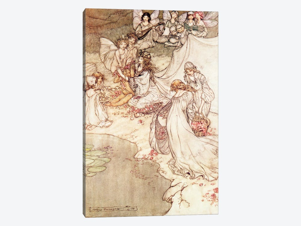 Illustration for a Fairy Tale, Fairy Queen Covering a Child with Blossom by Arthur Rackham 1-piece Art Print