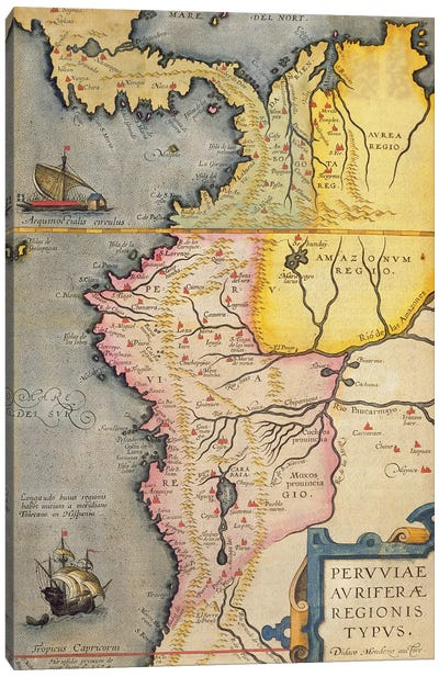 Map of the gold-bearing regions in Peru, from the 'Atlas Maior, Sive Cosmographia Blaviana', 1662  Canvas Art Print