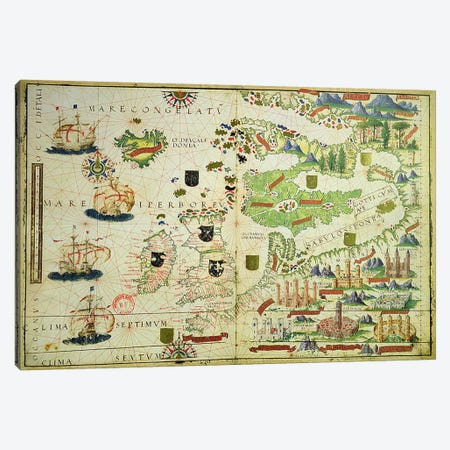 Map of Europe, from a facsimile of the 'Miller Atlas' by Pedro and Jorge Reinel, and Lopo Homem, made in 1519 Canvas Print #BMN3640} by Unknown Artist Canvas Print