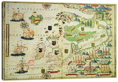 Map of Europe, from a facsimile of the 'Miller Atlas' by Pedro and Jorge Reinel, and Lopo Homem, made in 1519 Canvas Print #BMN3640