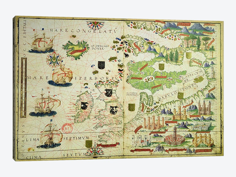 Map of Europe, from a facsimile of the 'Miller Atlas' by Pedro and Jorge Reinel, and Lopo Homem, made in 1519 by Unknown Artist 1-piece Canvas Print