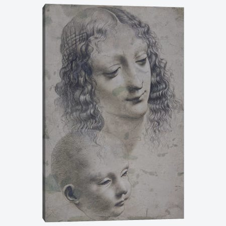 The head of a woman and the head of a baby  Canvas Print #BMN3643} by Leonardo da Vinci Art Print