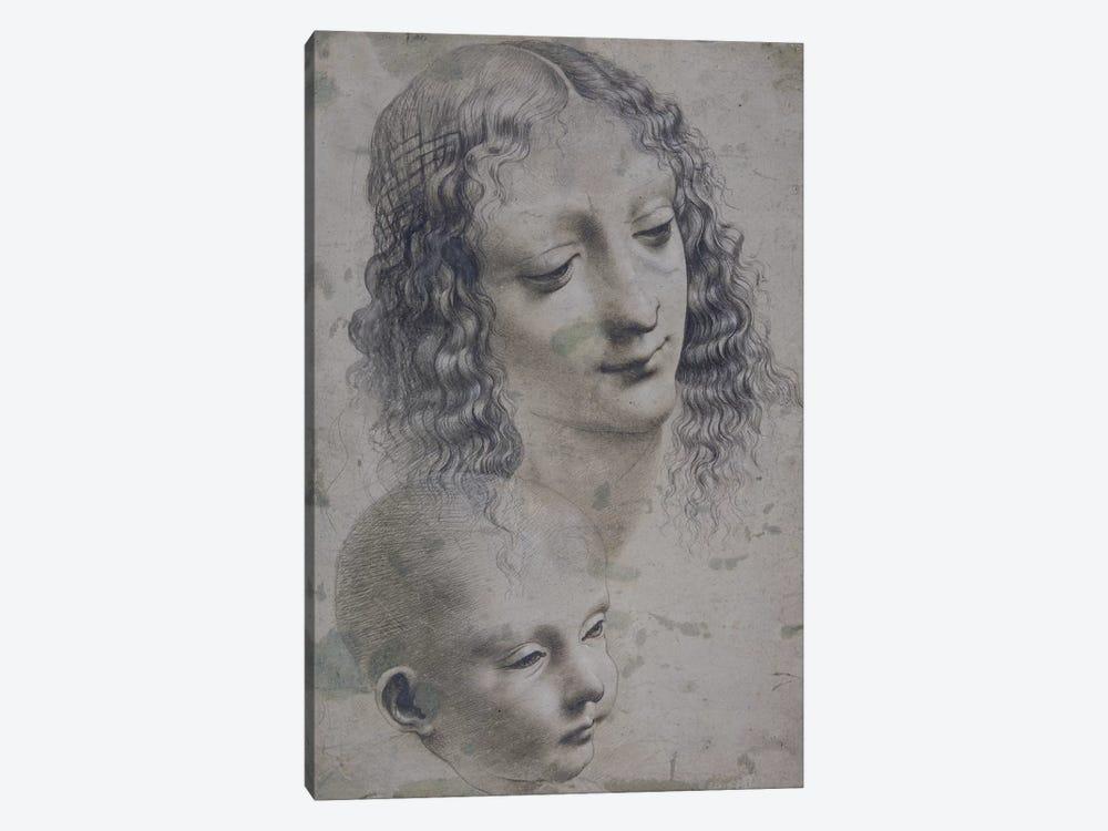 The head of a woman and the head of a baby  by Leonardo da Vinci 1-piece Canvas Artwork