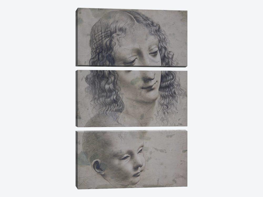 The head of a woman and the head of a baby  by Leonardo da Vinci 3-piece Canvas Wall Art