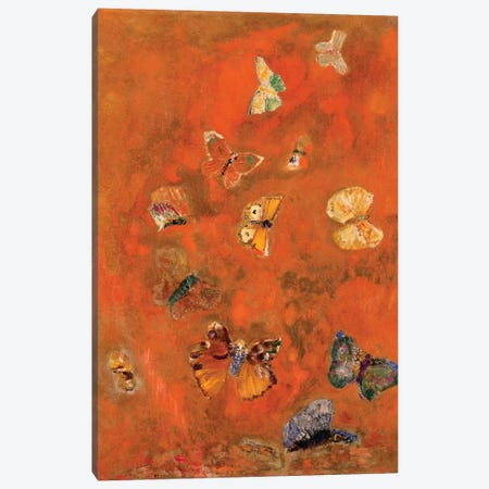 Evocation of Butterflies, c.1912  Canvas Print #BMN3646} by Odilon Redon Canvas Wall Art