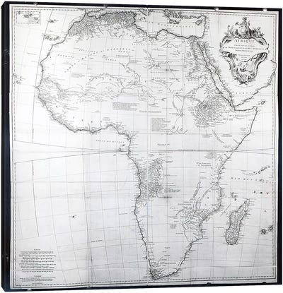 Map of Africa, engraved by Guillaume Delahaye, 1749  Canvas Art Print