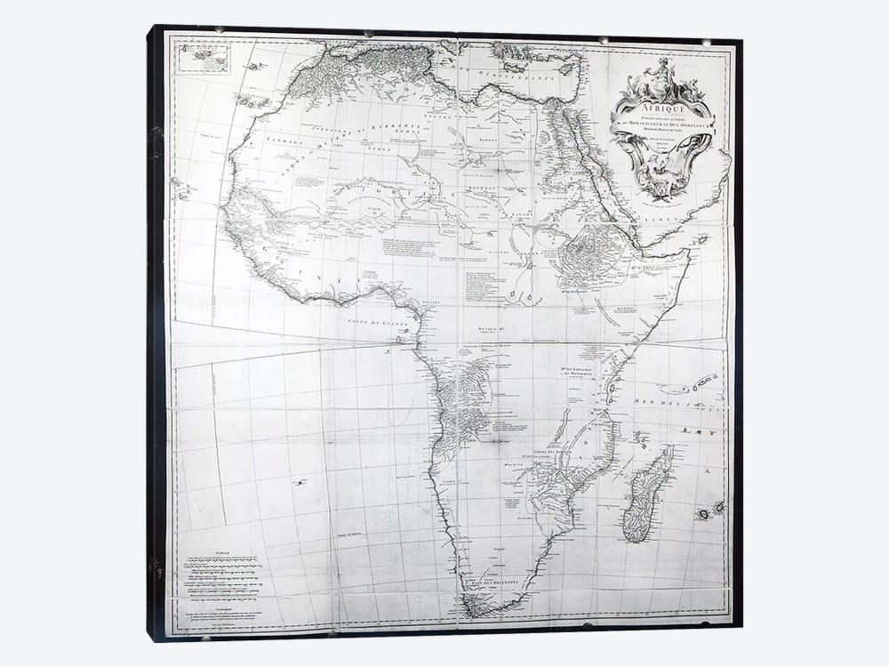 Map of Africa, engraved by Guillaume Delahaye, 1749 1-piece Canvas Art Print