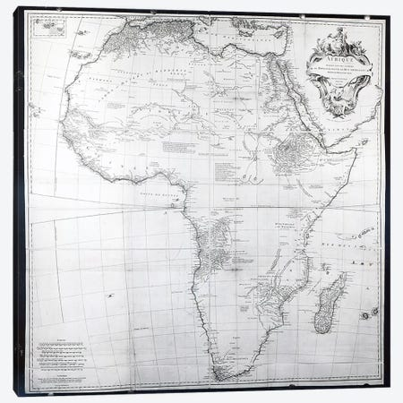 Map of Africa, engraved by Guillaume Delahaye, 1749  Canvas Print #BMN3648} by French School Canvas Art Print