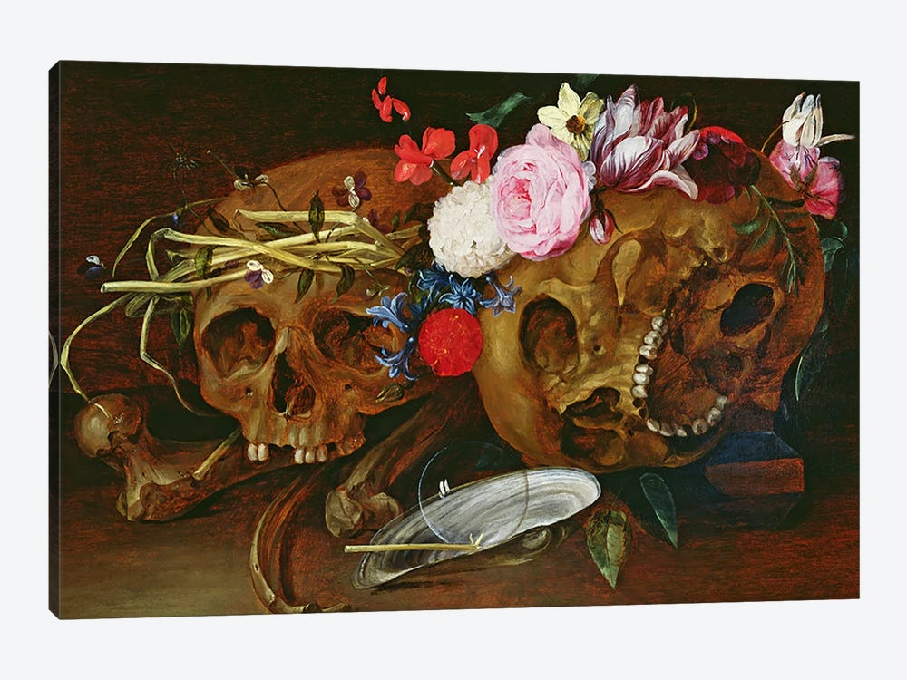 Vanitas Still Life with Skulls, Flowers, a pearl mussel shell, a bubble and straw by Nicolaes van Veerendael 1-piece Canvas Artwork