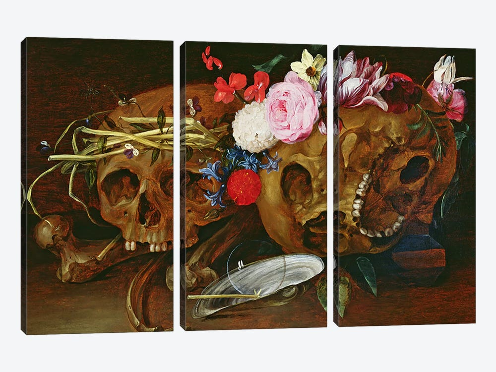 Vanitas Still Life with Skulls, Flowers, a pearl mussel shell, a bubble and straw by Nicolaes van Veerendael 3-piece Canvas Artwork